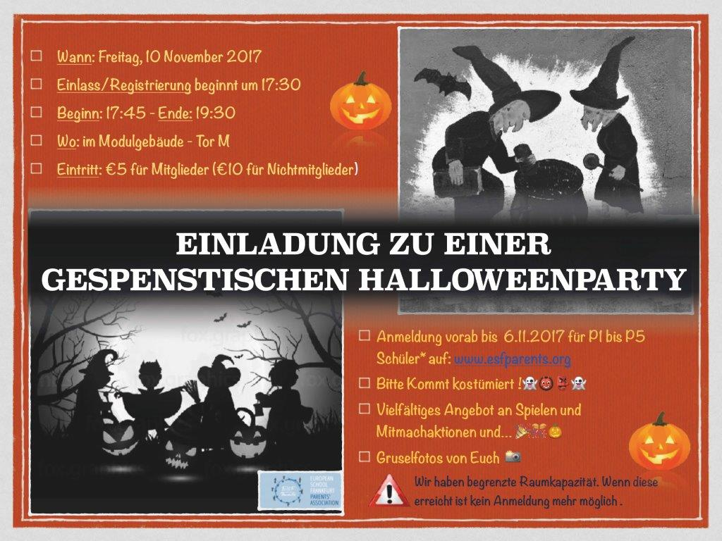 Bekannte ESF Parents' Association - Halloween Party 10. November 2017 Einladung HF23